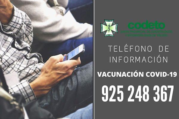 Teléfono de información vacunación COVID-19 personal de primera línea en el ámbito Sanitario y Sociosanitario